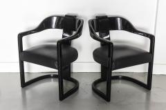 Karl Springer Set of Six American Modern Black Lacquer Ari Chairs style of Karl Springer - 61023