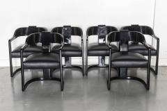 Karl Springer Set of Six American Modern Black Lacquer Ari Chairs style of Karl Springer - 61024