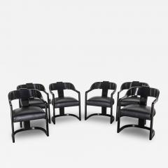 Karl Springer Set of Six American Modern Black Lacquer Ari Chairs style of Karl Springer - 63836
