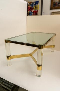 Karl Springer Signed Karl Springer Cocktail Table in Lucite and Brass - 1151312