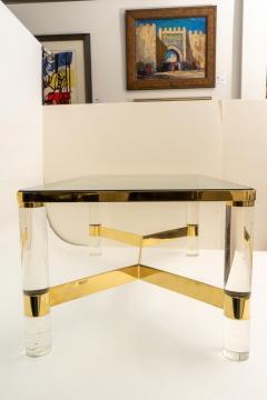 Karl Springer Signed Karl Springer Cocktail Table in Lucite and Brass - 1151314