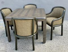 Karl Springer Signed Karl Springer Lizard Embossed Leather Table and Four Lacquered Chairs - 2066471