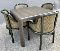 Karl Springer Signed Karl Springer Lizard Embossed Leather Table and Four Lacquered Chairs - 2066472