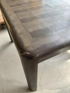 Karl Springer Signed Karl Springer Lizard Embossed Leather Table and Four Lacquered Chairs - 2066475