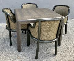Karl Springer Signed Karl Springer Lizard Embossed Leather Table and Four Lacquered Chairs - 2066478