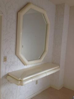 Karl Springer Style Lacquered Large Mirror with Wall Shelf 1990 - 98576