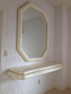 Karl Springer Style Lacquered Large Mirror with Wall Shelf 1990 - 98577