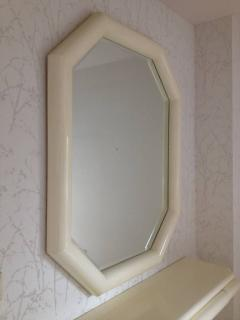 Karl Springer Style Lacquered Large Mirror with Wall Shelf 1990 - 98579
