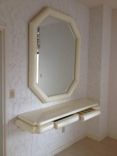 Karl Springer Style Lacquered Large Mirror with Wall Shelf 1990 - 98580