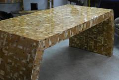 Karl Springer Tessellated Blond Horn Desk Manner of Karl Springer - 598279