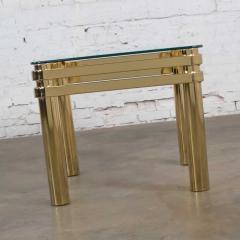 Karl Springer Vintage modern brass glass side end table w glass top style pace or springer - 1780935