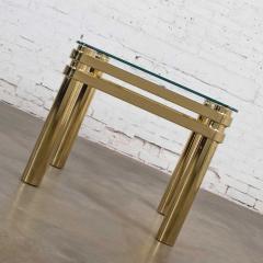 Karl Springer Vintage modern brass glass side end table w glass top style pace or springer - 1780937