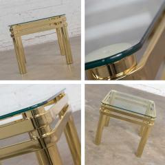 Karl Springer Vintage modern brass glass side end table w glass top style pace or springer - 1780938