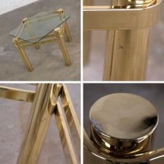 Karl Springer Vintage modern brass glass side end table w glass top style pace or springer - 1780939