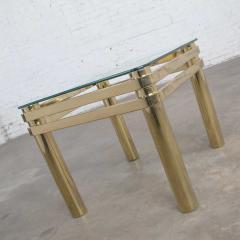 Karl Springer Vintage modern brass glass side end table w glass top style pace or springer - 1780948