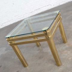 Karl Springer Vintage modern brass glass side end table w glass top style pace or springer - 1780951