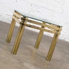 Karl Springer Vintage modern brass glass side end table w glass top style pace or springer - 1780959