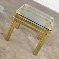 Karl Springer Vintage modern brass glass side end table w glass top style pace or springer - 1780960
