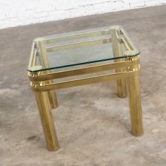 Karl Springer Vintage modern brass glass side end table w glass top style pace or springer - 1780977