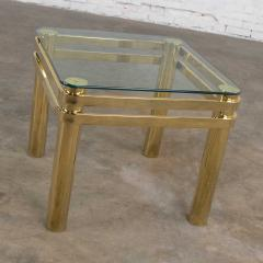 Karl Springer Vintage modern brass glass side end table w glass top style pace or springer - 1780979
