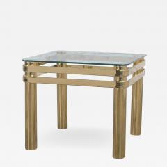 Karl Springer Vintage modern brass glass side end table w glass top style pace or springer - 1785396