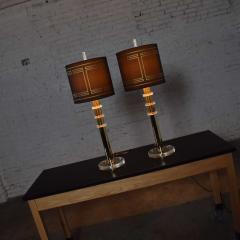 Karl Springer Vintage modern or hollywood regency lucite and brass plate lamps 2 pair - 1780980