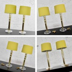 Karl Springer Vintage modern or hollywood regency lucite and brass plate lamps 2 pair - 1780986