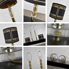 Karl Springer Vintage modern or hollywood regency lucite and brass plate lamps 2 pair - 1780987