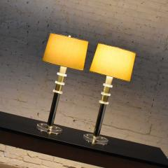 Karl Springer Vintage modern or hollywood regency lucite and brass plate lamps 2 pair - 1781012