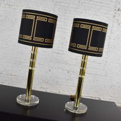 Karl Springer Vintage modern or hollywood regency lucite and brass plate lamps 2 pair - 1781013