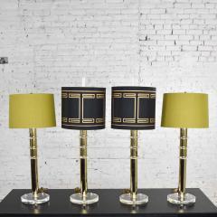 Karl Springer Vintage modern or hollywood regency lucite and brass plate lamps 2 pair - 1781015