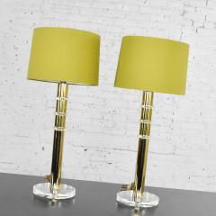 Karl Springer Vintage modern or hollywood regency lucite and brass plate lamps 2 pair - 1781016