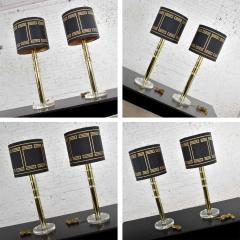 Karl Springer Vintage modern or hollywood regency lucite and brass plate lamps 2 pair - 1781024