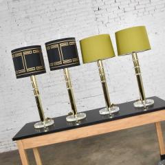 Karl Springer Vintage modern or hollywood regency lucite and brass plate lamps 2 pair - 1781032