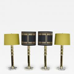 Karl Springer Vintage modern or hollywood regency lucite and brass plate lamps 2 pair - 1785401
