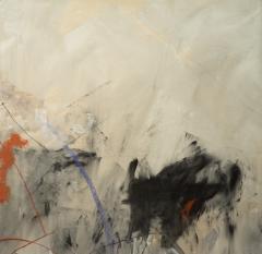 Kathi Robinson Frank Blue Magic 2020 Large Gray and Blue Abstract Painting by Kathi Robinson Frank - 1684685