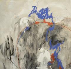Kathi Robinson Frank Blue Magic 2020 Large Gray and Blue Abstract Painting by Kathi Robinson Frank - 1684688