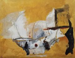 Kathi Robinson Frank Mexican Sun Gold White Black Abstract Oil Painting by Kathi Robinson Frank - 1091956