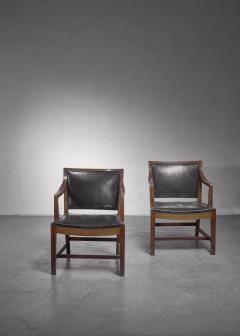 Kay Fisker Pair of Kay Fisker attributed armchairs in dark green leather - 1224939