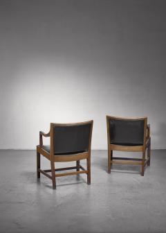 Kay Fisker Pair of Kay Fisker attributed armchairs in dark green leather - 1224940