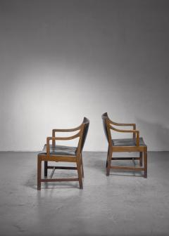 Kay Fisker Pair of Kay Fisker attributed armchairs in dark green leather - 1224941