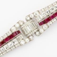 Keith Drayson Art Deco Ruby and Diamond Bracelet by Drayson - 199304