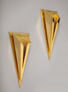Kelly Kiefer Pair of Polished 24k Gold Plated Sconces by Kelly Kiefer - 881924