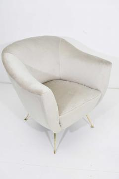 Kelly Wearstler Italian Style Chair in Light Taupe Holly Hunt Silk Camel with Brass Legs - 1492141