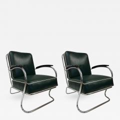 Kem Weber Pair of KEM Weber for Lloyd Tubular Chrome Lounge Chairs - 450348