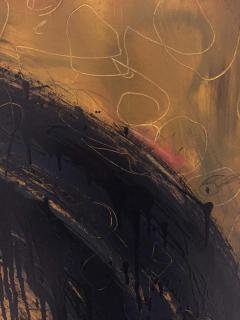 Kennan Del Mar Black Hole on Yellow Gold Painting Oil and Pastel on Canvas - 1468941