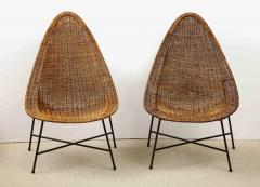 Kerstin H rlin Holmquist Pair of rattan and iron chairs - 1208553
