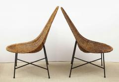 Kerstin H rlin Holmquist Pair of rattan and iron chairs - 1208556