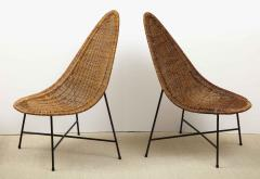 Kerstin H rlin Holmquist Pair of rattan and iron chairs - 1208557