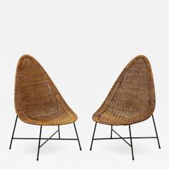 Kerstin H rlin Holmquist Pair of rattan and iron chairs - 1208668